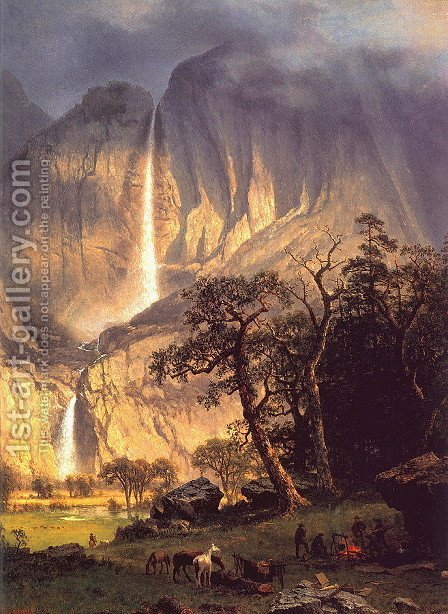 Cho-looke: The Yosemite Fall by Albert Bierstadt - Reproduction Oil Painting