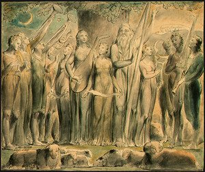 Reproduction oil paintings - William Blake - Job and His Family Restored to Prosperity