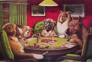 Famous paintings of Animals: Dogs Playing Poker