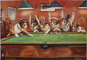 Famous paintings of Other: Dogs Playing Pool