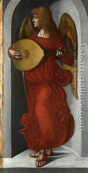 Leonardo Da Vinci: An Angel in Red with a Lute - reproduction oil painting