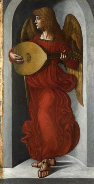 Reproduction oil paintings - Leonardo Da Vinci - An Angel in Red with a Lute