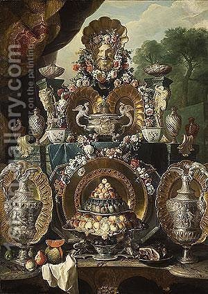 Still Life with Silver by Alexandre-Francois Desportes - Reproduction Oil Painting