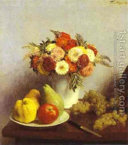 Flowers and Fruit 2 by Ignace Henri Jean Fantin-Latour - Reproduction Oil Painting