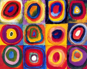 Famous paintings of Abstract: Squares with Concentric Rings