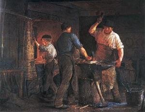 Famous paintings of Studios and Workshops: Blacksmith at Hornbaek