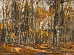 Group of Seven painting reproductions: Wood Interior, Algonquin Park