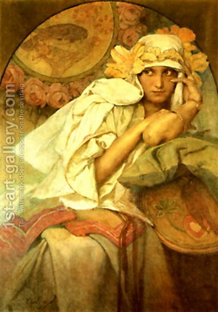 Muse by Alphonse Maria Mucha - Reproduction Oil Painting