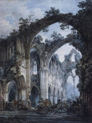 Famous paintings of Clouds & Skyscapes: Inside of Tintern Abbey