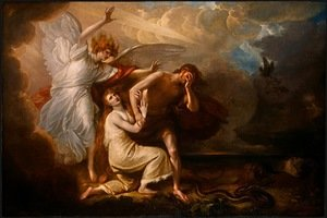 Famous paintings of Clouds & Skyscapes: The Expulsion of Adam and Eve from Paradise