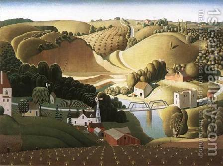 Grant Wood: Stone City - reproduction oil painting