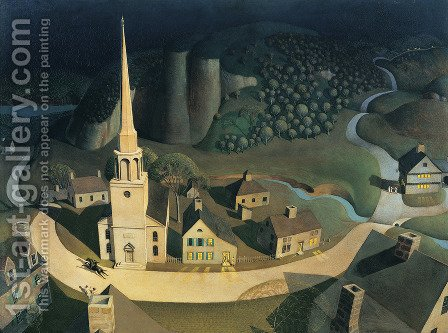 Grant Wood: The Midnight Ride of Paul Revere - reproduction oil painting