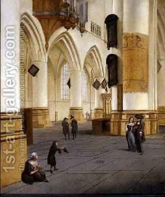 View of the south aisle of the church of St Bavo Haarlem by Isaak Nickelen - Reproduction Oil Painting