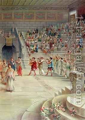 A Music Festival in Pompeii by (after) Niccolini, Antonio - Reproduction Oil Painting