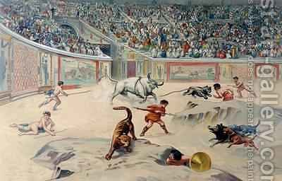 Gladiators Fighting Animals in the circus at Pompeii by (after) Niccolini, Antonio - Reproduction Oil Painting