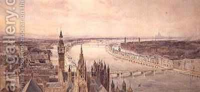 Architectural panorama of a proposed scheme for the South Bank of the Thames 1861 by Harry Robert Newton - Reproduction Oil Painting