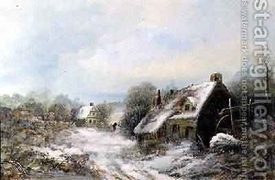 Snow Scene with Cottages by Harry Foster Newey - Reproduction Oil Painting
