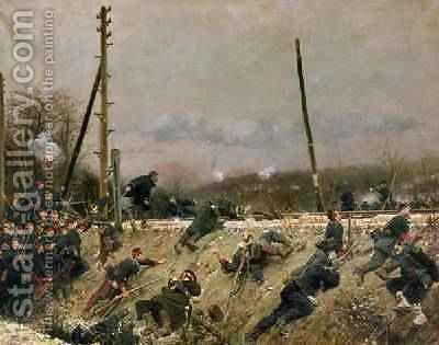 Fighting on the Tracks 1874 by Alphonse Marie de Neuville - Reproduction Oil Painting