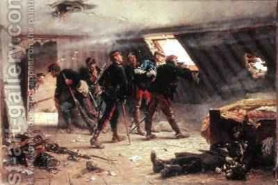 Episode from the FrancoPrussian War 1875 by Alphonse Marie de Neuville - Reproduction Oil Painting
