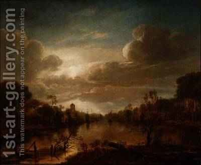 A river landscape by moonlight by Aert van der Neer - Reproduction Oil Painting