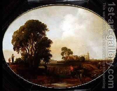 A landscape with Reedcutters by Aert van der Neer - Reproduction Oil Painting