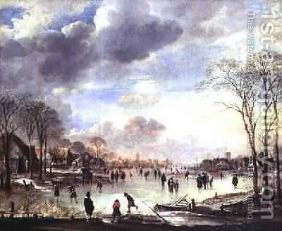 Winter Landscape with Figures on a Frozen Canal by Aert van der Neer - Reproduction Oil Painting