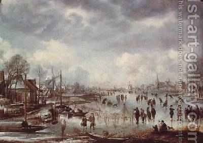 Winter scene with figures skating by Aert van der Neer - Reproduction Oil Painting