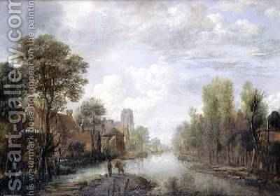 Landscape with a canal by Aert van der Neer - Reproduction Oil Painting