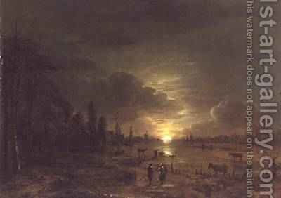 River Landscape with Rising Moon by Aert van der Neer - Reproduction Oil Painting