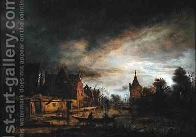 A Moonlit Village Landscape with Two Men in a Boat by Aert van der Neer - Reproduction Oil Painting