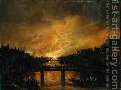 Blaze in Amsterdam by Aert van der Neer - Reproduction Oil Painting