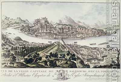 View of the Capital City and Fortress of Salzburg dedicated to the Illustrious Chapter of the Metropolitan Church of Salzburg 1791 by (after) Naumann, Friedrich Gotthard - Reproduction Oil Painting