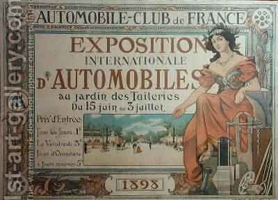 Poster advertising the Exposition Internationale dAutomobiles at the Tuileries Gardens 1898 by A. Nardac - Reproduction Oil Painting