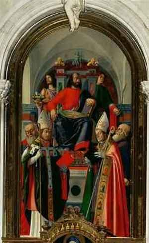 St Mark enthroned with Saints