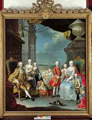 Rococo painting reproductions: Franz Stephan I 1708-65 with his wife Marie-Therese 1717-80 and their children
