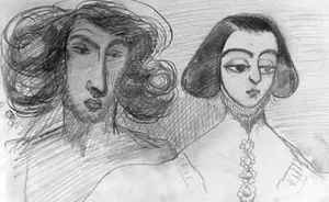 Alfred de Musset reproductions - Self Portrait with George Sand 1804-76