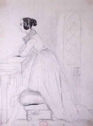 Reproduction oil paintings - Alfred de Musset - George Sand 1804-76 kneeling on a pouffe and with her elbows on a balustrade 1833