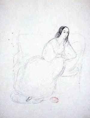 Reproduction oil paintings - Alfred de Musset - George Sand 1804-1876 seated on a sofa 1833