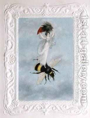 A fairy carrying a feather standing on a bee 1817-29 by Amelia Jane Murray - Reproduction Oil Painting