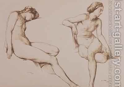 Sepia Drawing of Nude Woman 1860 by William Mulready - Reproduction Oil Painting