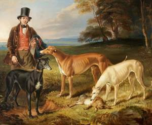 Realism painting reproductions: Thomas Harris Kennel-Man to Tom Llewelyn Brewer with Greyhounds 1844