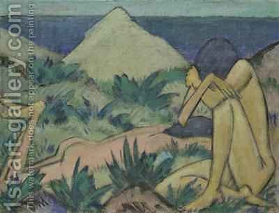 Nudes in Dunes 1919-20 by Otto Muller - Reproduction Oil Painting