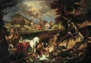 Famous paintings of Llamas: Noah offers up a Sacrifice as a Sign of his Gratitude 1687-90