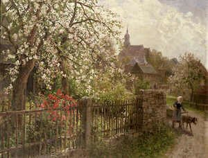 Famous paintings of Villages: Apple Blossom