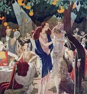 Evening in a Restaurant in the Bois de Boulogne illustration from LIllustration July 1926