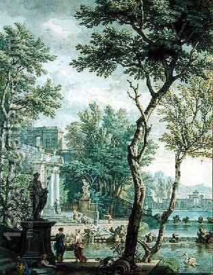 Ideal Palace and Park by Isaac de Moucheron - Reproduction Oil Painting