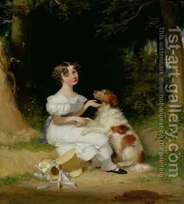 A Young Girl with Her Spaniel 1832 by Alexander Mosses - Reproduction Oil Painting