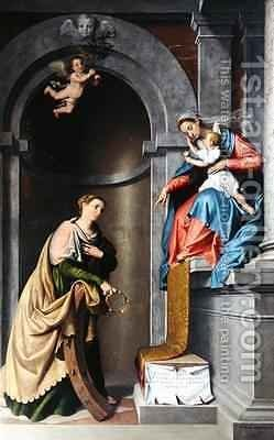 The Mystic Marriage of St Catherine by Giovanni Battista Moroni - Reproduction Oil Painting