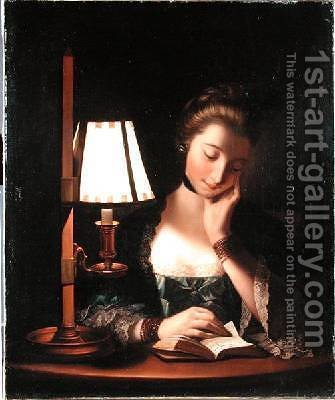 Woman Reading by a Paper-bell Shade 1766 by Henry Robert Morland - Reproduction Oil Painting