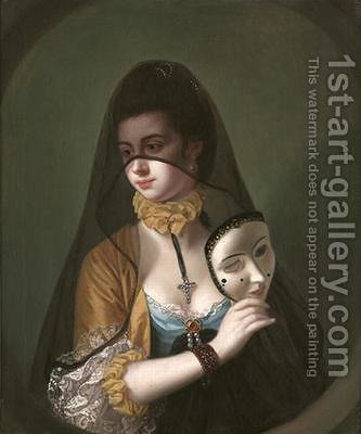 A Lady in a Masquerade Habit by Henry Robert Morland - Reproduction Oil Painting
